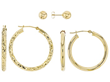 Picture of 10K Yellow Gold Set of 3 Hoops and Button Earrings