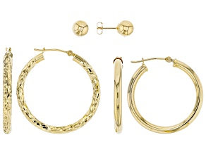 10K Yellow Gold Set of 3 Hoops and Button Earrings