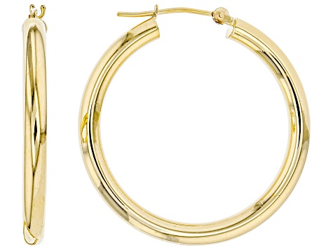 10K Yellow Gold Polished 3X30MM Round Tube Hoop Earrings