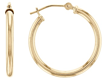 Picture of 10K Yellow Gold Polished 20MM Round Tube Hoop Earrings