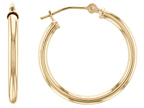 10K Yellow Gold Polished 20MM Round Tube Hoop Earrings