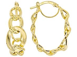 10K Yellow Gold Polished Graduated Oval Link Hoop Earrings