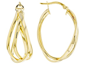 10K Yellow Gold Polished Triple Oval Tube Hoop Earrings
