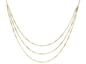10K Yellow Gold Polished and Diamond Cut Solid Grad Triple Strand Beaded Bar 17