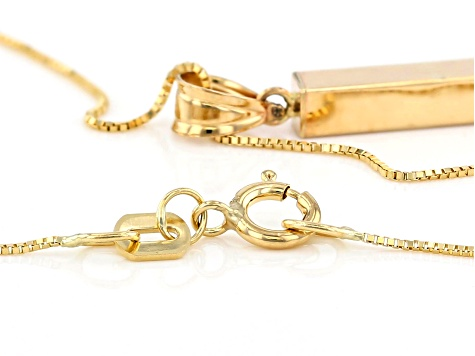 10K Yellow Gold Polished Square Tubing Drop Pendant with 18 Inch Box Chain