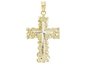 10K Yellow Gold Polished and Diamond Cut Nugget Cross Pendant