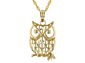 "10K Yellow Gold Polished and Diamond Cut Owl on Branch X Pattern Pendant with 18"" Rope Chain"