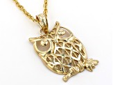 10K Yellow Gold Polished and Diamond Cut Owl on Branch X Pattern Pendant with Rope Chain