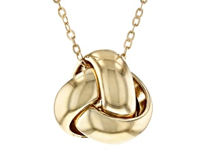 10K Yellow Gold Polished Interlock Twist Knot Pendant with 17