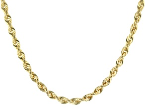 "10K Yellow Gold 3.30MM Solid 24"" Rope Chain"