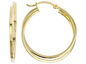 14K Yellow Gold Polished Crossover Square Tube Hoop Earrings
