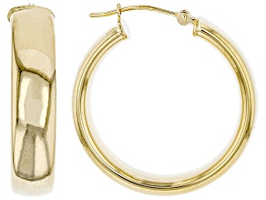 14K Yellow Gold Polished 25MM Tube Hoop Earrings