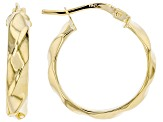 14K Yellow Gold 19.50MM Polished Round Ribbed Hoop Earrings