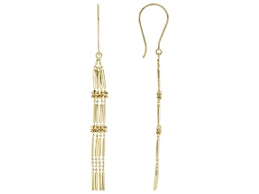 14K Yellow Gold Polished and Diamond Cut Beaded Drop Earrings