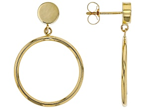 14K Yellow Gold Polished 20MM with 6MM Topper Tube Hoop Earrings
