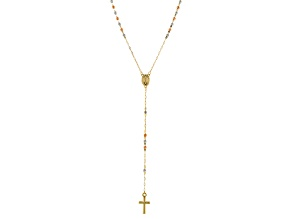 14K Tri-Tone Gold Polished and Diamond Cut Beaded Rosary 22