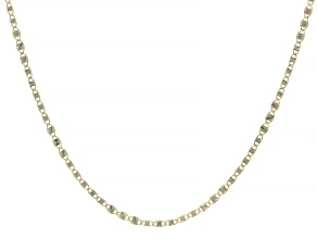 10k Yellow Gold Diamond Cut Rhodium Accent 2.45mm Mariner Chain 18 inch Necklace