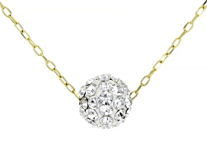10K Yellow Gold Sparkle Bead 18 Inch Cable Chain Necklace