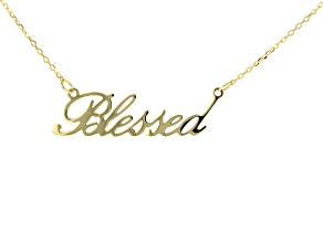 "10K Yellow Gold ""Blessed"" Script 16 Inch with 2 Inch Extender Cable Chain Necklace"