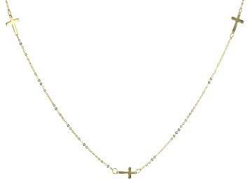 Picture of 10K Yellow Gold Cross Station 18 Inch Cable Chain Necklace