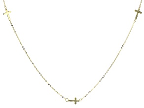 10K Yellow Gold Cross Station 18 Inch Cable Chain Necklace