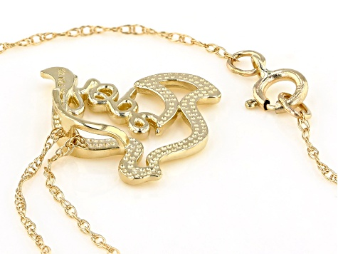 10K Yellow Gold Hope Dove Pendant with Cable 18 Inch Chain