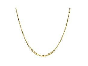 10K Yellow Gold 2.5MM Designer Love Chain 24 Inch Necklace