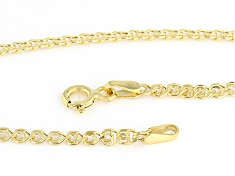 10K Yellow Gold 2.5MM Designer Love Link Bracelet