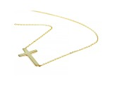 10K Yellow Gold Sideways Cross Pendant 18 Inch Cable Chain Necklace