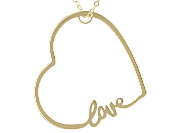 """Picture of 10K Yellow Gold Sideways Heart """"Love"""" 18 Inch Cable chain Necklace"""