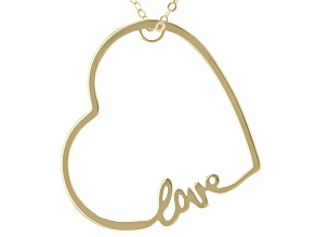 "10K Yellow Gold Sideways Heart ""Love"" 18 Inch Cable chain Necklace"