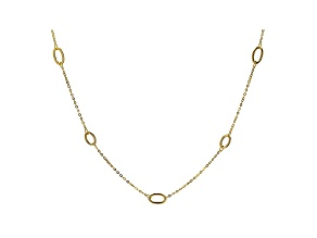 10K Yellow Gold Oval Station Cable Chain Necklace