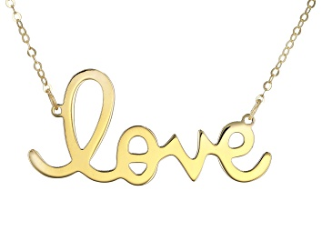 """Picture of 10K Yellow Gold Handwritten """"Love"""" 18 Inch Necklace"""