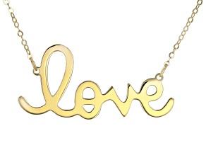 "10K Yellow Gold Handwritten ""Love"" 18 Inch Necklace"
