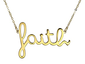 "10K Yellow Gold Handwritten ""Faith"" 18 Inch Necklace"
