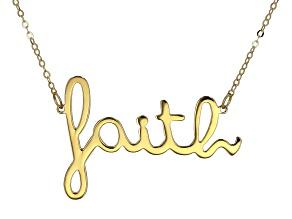 "10K Yellow Gold Handwritten ""Faith"" 18 Inch Necklace"
