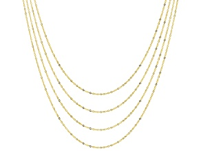 10K Yellow Gold 0.80MM Flat Rolo Chain Set of Four 16, 18, 20, and 22 Inch Necklaces