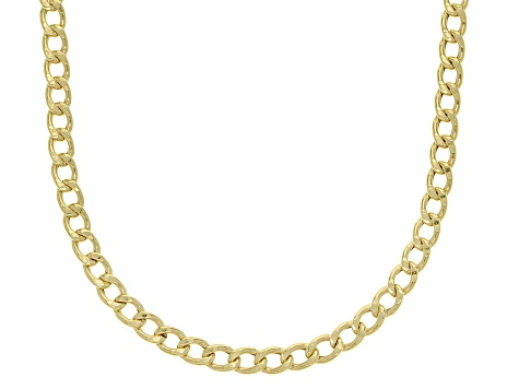 10K Yellow Gold 2.40MM Flat Curb Chain 20 Inch Necklace