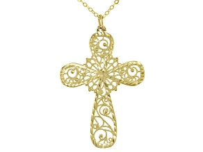 10K Yellow Gold Ricami Cross Pendant with 18 Inch Cable Chain