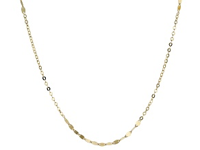 10K Yellow Gold Station Designer Chain 24 Inch Necklace