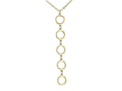 10K Yellow Gold Circles Cable Chain 18 Inch Necklace