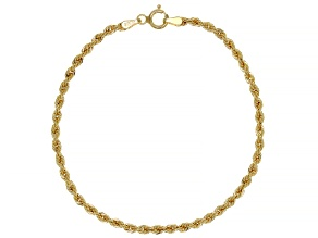 10K Yellow Gold 2.6MM Rope Link Bracelet