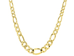 10K Yellow Gold Graduated Figaro Chain 20 Inch Necklace