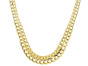 10K Yellow Gold Graduated Double Curb Chain 20 Inch Necklace