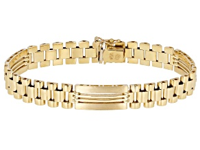 10K Yellow Gold 9.5MM Polished and Satin Open Link 8.25 Inch Bracelet