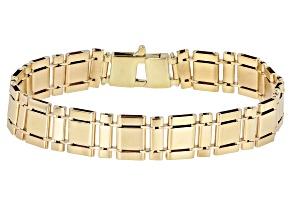 10K Yellow Gold 11.8MM Satin Fancy Link 8.5 Inch Bracelet