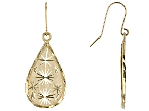 14k Yellow Gold 12.8MM Diamond Cut Teardrop Dangle Earrings