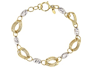 14K Yellow Gold Two-Tone Polished Diamond Cut Fancy Link 7 Inch with .5 Inch Extender Bracelet