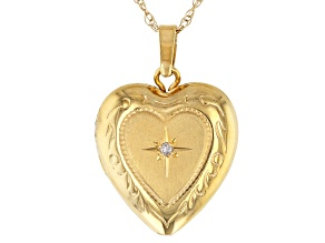 14K Yellow Gold Bella Luce® White Cubic Zirconia Heart Locket Pendant with 18 Inch Singapore Chain