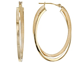 14K Yellow 22.5MM Polished and Satin Oval Hoop Earrings
